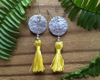 Tassel earrings, colorful tassel dangle earrings, metal and tassel earrings
