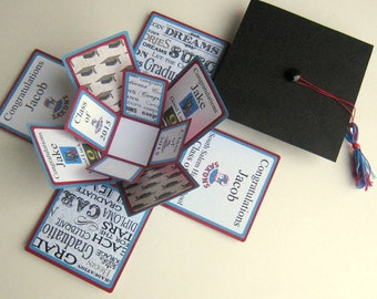 Graduation Card  Exploding Box Custom Personalized Made to Order You Choose Colors and Designs