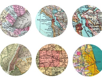 Custom VINTAGE MAP Craft Circles - various cities - for tiffany