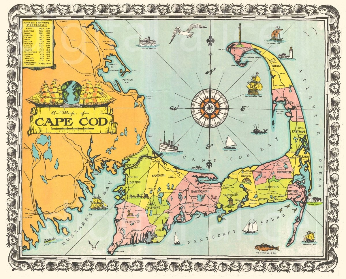 Eloquent image with printable map of cape cod