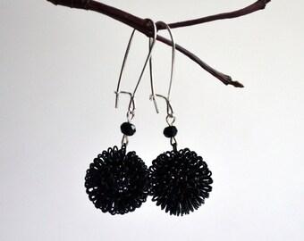 Black Earrings -  Fashion Black Earrings - Modern Jewelry  - Dangle Black Earrings