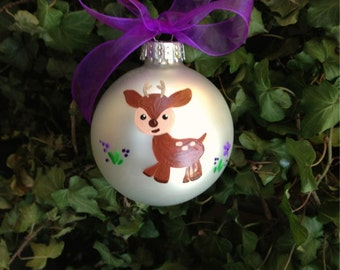 Fawn Ornament, Baby Deer - Personalized Hand Painted Christmas Ornament - Woodland Ornament, Nursery Decor, Woodland Baby Shower,