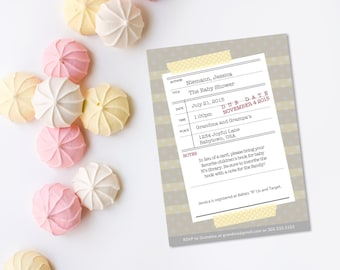 Book Theme Baby Shower - Customizable Library Card Invitation