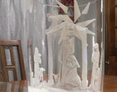 Super Sale Price!!! Nativity Scene Hand Painted Glass Vase Candleholder White Christmas