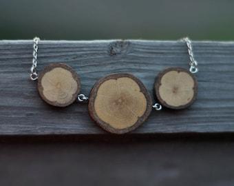 wood necklace  •  white oak wood pendant  •  wooden necklace