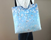Large Tote, Artsy Print Blue Tote, First Snow