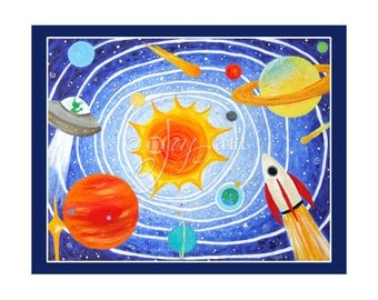 Solar System 8x10 inch art print, space shemed art for kids rooms, nursery decor for boys