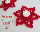 Tealight Cozy...Snowflake...Red...Christmas Decoration...Crochet Candle Holder