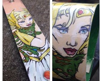 She-Ra and Baby Cringer - hand-painted cuff - Masters of the Universe comic book inspired cuff