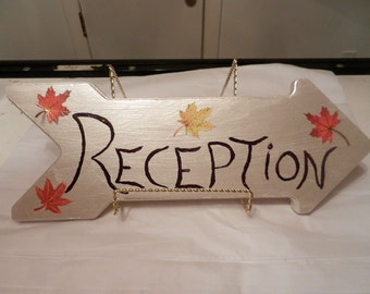 "Wedding decoration/sign ""Reception"" wooden arrow sign"