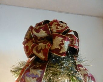 Small Christmas tree topper bow Dark Red w/gold design thin pencil tree, table top tree
