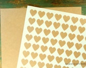 """2160 Kraft Heart Stickers, Recycled Mini Heart Planner Stickers, .75"""" , 3/4"""" inch mini heart stickers, grocery bag heart labels (20 sheets)"""