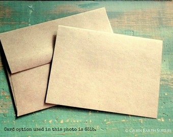 "A2 Folded Cards & Envelopes, Kraft Brown Cards, Blank Note Cards and Envelopes, Recycled Cards, 4 1/4"" x 5 1/2"" (108 x 140mm), Set of 25"