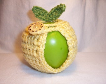 Handmade Crocheted Apple Cozy - Crochet Apple Cozy - Cornmeal Color