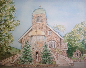 Watercolor painting of church, watercolor, St. Roch's Catholic Church, fine art print, watercolors, landscape painting, church.