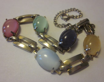 Sweet Gold Tone Vintage Bracelet with Multi-Colored Cabochons