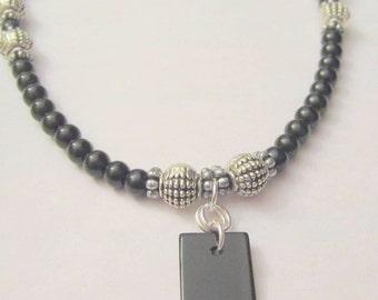 Men's Beaded Pendant Necklace Black Obsidian Gemstone Necklace