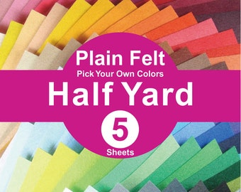 5 HALF YARD Plain Felt Fabric - pick your own color (A1/2y)