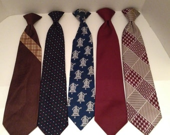 Clip On Ties Vintage Lot of 5 Mens Clipon Neckties 1970s Fashion Variety
