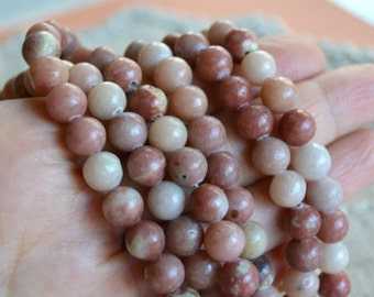 66pcs 6mm Pink Lepidolite Natural Gemstone Beads Round 16 Inches Strand