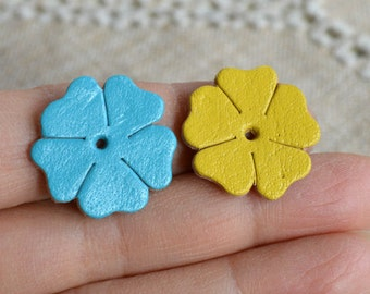 16 Leather Flowers 22x21mm Mixed Colors Die Cuts Jewelry Supplies