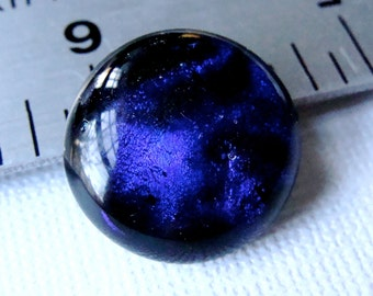 Dichroic Fused Glass Cabochon 19 mm Iridescent Purple Shades