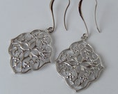 Silver Earrings, Dangly, Flower Earrings, Long Earrings