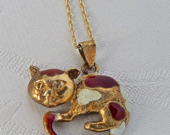 Vintage Calico Kitty Necklace, Enamel, Cat Jewelry
