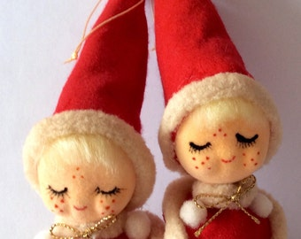 Vintage Twin Girl Elf Ornaments Set of 2 Made in Japan #7