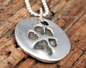 Sterling Silver Round Pendant with Dog Paw Print Impression, Key Chain, Personalized Pendant, Jewelry, Great Personalized Gifts, Charm