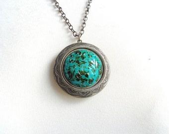 Turquoise giant brass locket