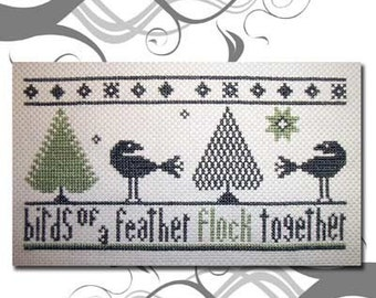 PDF Emailed E Pattern NEW Primitive Birds of a Feather Cross Stitch Pattern 90
