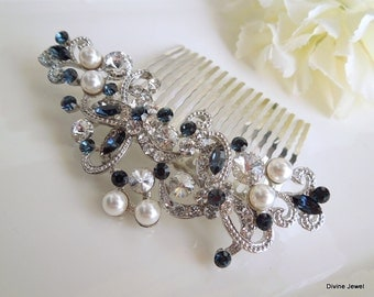 Bridal Rhinestone Hair Comb, Wedding Rhinestone Hair Comb, flower Rhinestone Hair Comb, Swarovski Crystals, Something Blue hair comb, NAYA