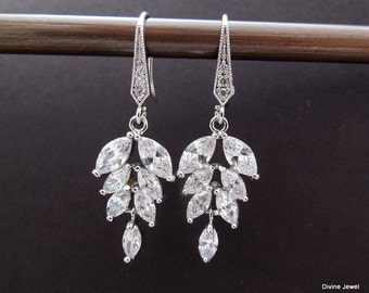 Cubic Zirconia Earrings Bridal Earrings Bridal Rhinestone Earrings Crystal Bridal Wedding Earrings Rhinestone Teardrop Earrings KAYLA