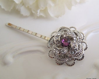 Bridal Purple Hair Pin,Rose Victorian Style Hair Pin,Wedding Hair Pin,Bridal Rhinestone Hair Pin,Wedding Rhinestone Hair Pin,Rose,ROSELANI