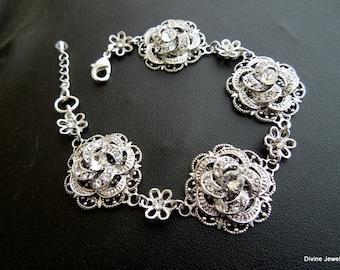Bridal Rhinestone Bracelet swarovski crystal Bridal Bracelet Statement Bridal BraceletWedding Rhinestone Bracelet wedding Bracelet ROSELANI