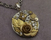 Rose Steampunk Pocket Watch Plate Necklace, Victorian, Round Watch Base, Brass Gears, Gold Leaves