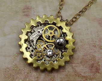 Steampunk Gear Necklace, Brass and Stainless Steel Round Pendant