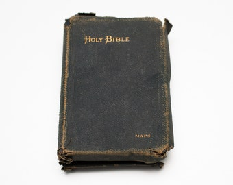 Antique 1890 Small Holy Bible, Black Leather Bound, Color Maps