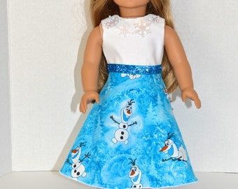 Disney's Frozen Olaf Dress for the American Girl doll with Snowflakes, 18 inch doll clothes, AG Doll Clothes