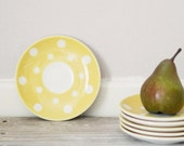 SALE 40% off | 6 Vintage yellow saucers with polka dots, Party table, Digoin Sarreguemines