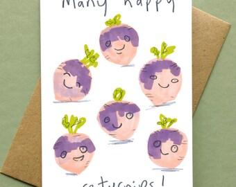 Vegetable Art, Happy Birthday Card 'Many Happy Re turnips' Vegetable Vegetarian Vegan Gardener SKU431