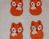 Feltie Machine Embroidered Hand made (4) Felt Fox CUT Embellishments / appliques