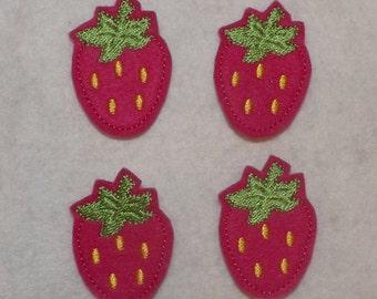 Feltie Machine Embroidered Hand made (4) Felt Strawberry CUT Embellishments / appliques