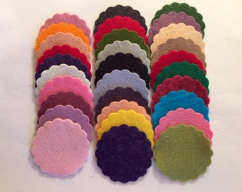 Wool Felt Scallops 30 1 3/4inch in Random Colored 2545 - scallop die cuts - headband supplies - scallop circle die cut