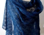 Linen Scarf Lace Shawl Knitted Natural Summer Wrap in Dark Blue Navy