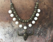 Groovy Boho Necklace With White Turquoise