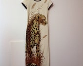 Vintage Cheeta Print Long Dress by Alfred Shaheen Hawaii Los Angeles size 8