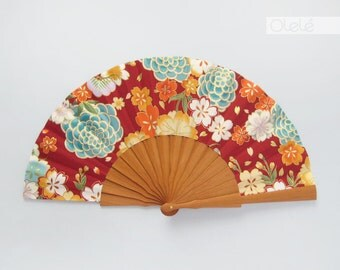 Akane Light - Kimono fabric folding fan - Red gold and aquamarine - summer accessory women's gift for her
