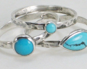 Turquoise Rings, Sterling Silver Stacking Rings, Metalsmith Jewelry